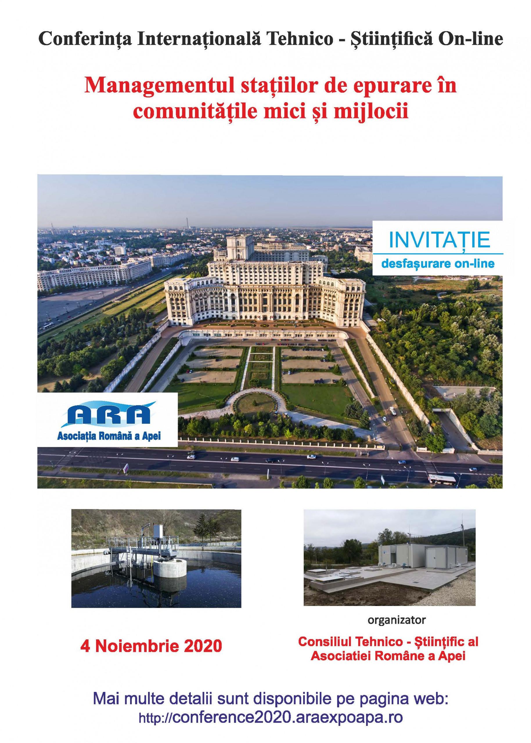 Conferinta Internationala – MANAGEMENTUL STAȚIILOR DE EPURARE ÎN COMUNITĂȚILE MICI ȘI MIJLOCII 2020